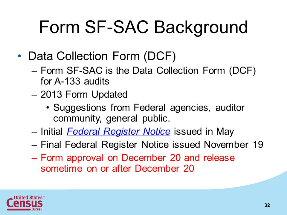 Form SF-SAC Background