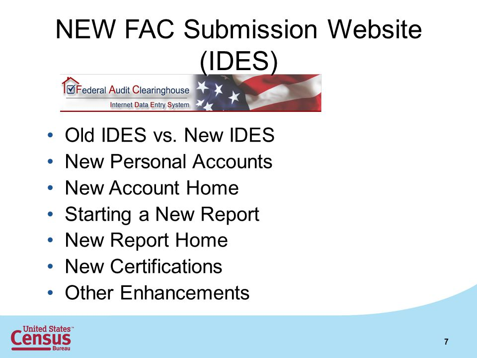 NEW FAC Submission Website (IDES)