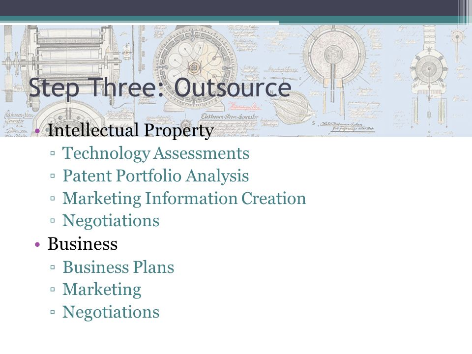 Step Three: Outsource Intellectual Property Business