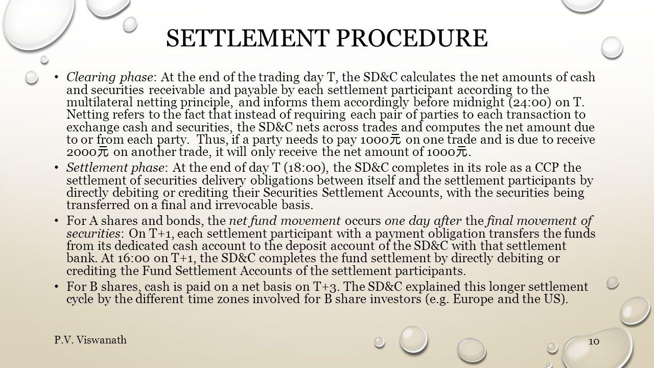 Settlement procedure