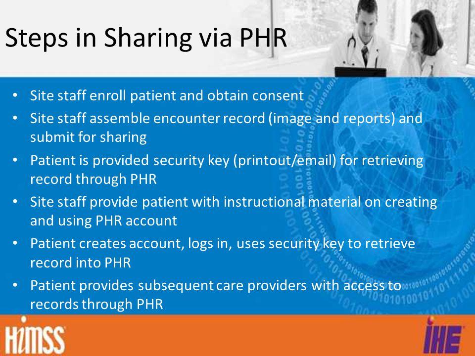 Steps in Sharing via PHR