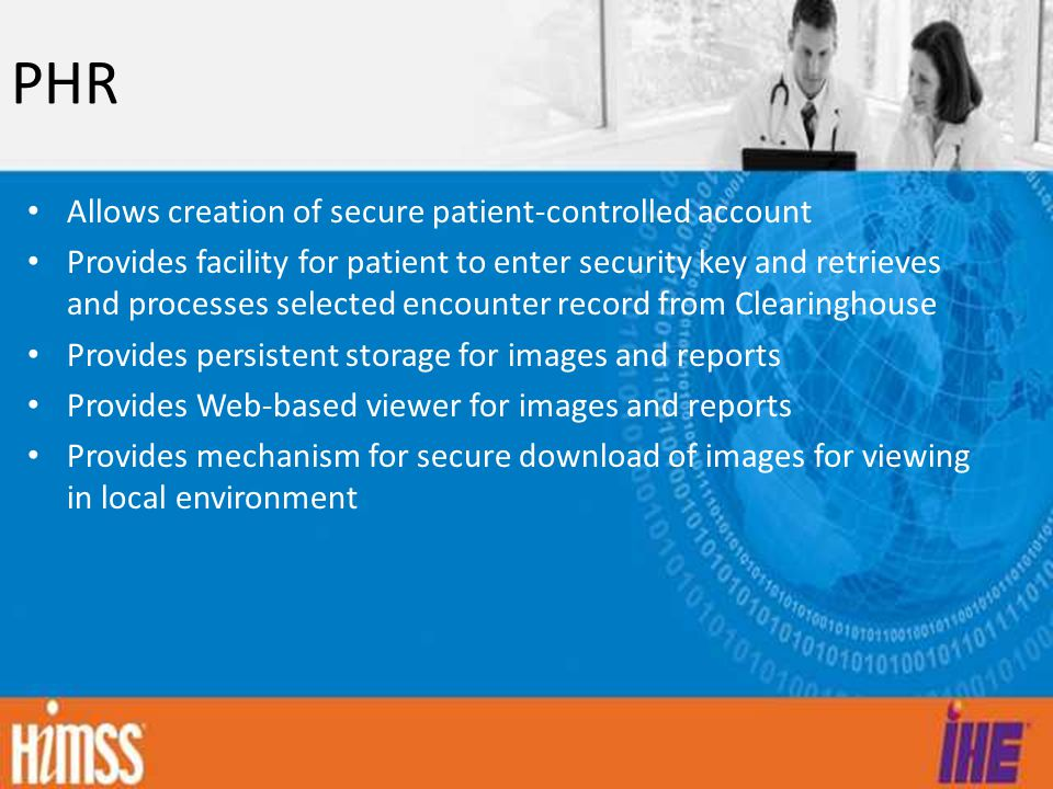 PHR Allows creation of secure patient-controlled account