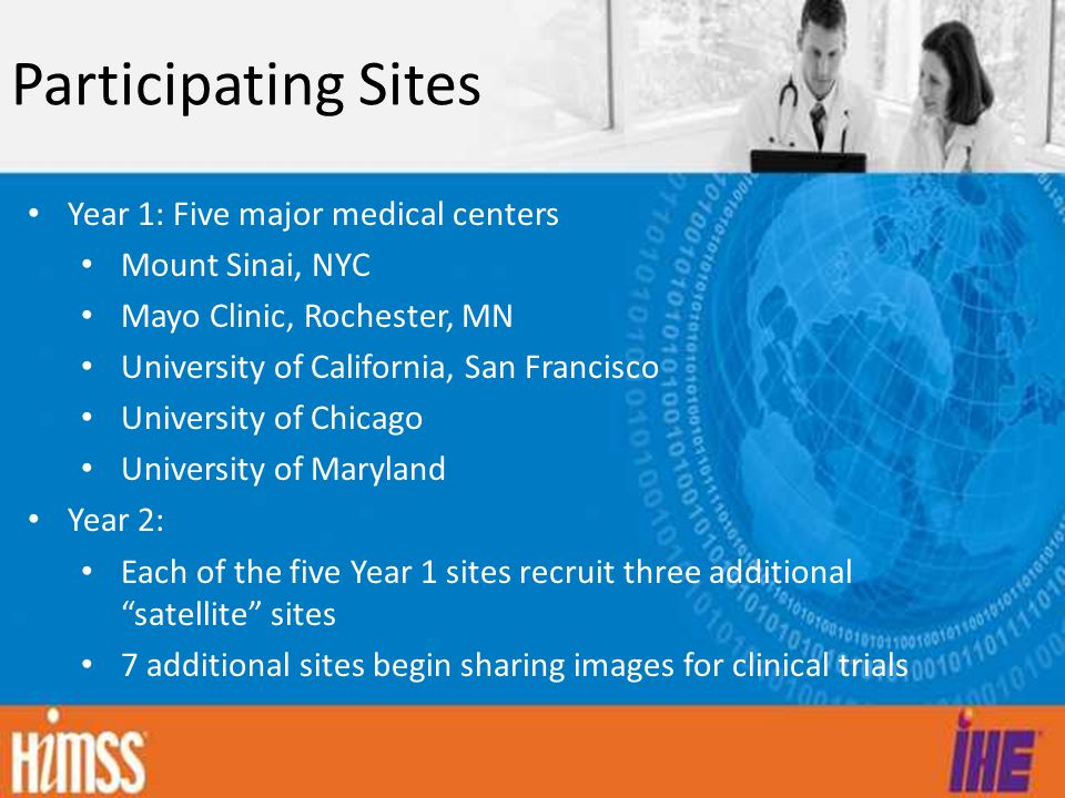 Participating Sites Year 1: Five major medical centers