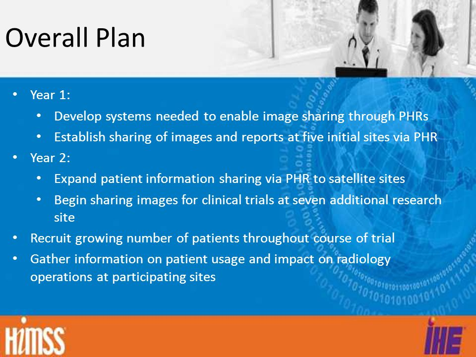Overall Plan Year 1: Develop systems needed to enable image sharing through PHRs.