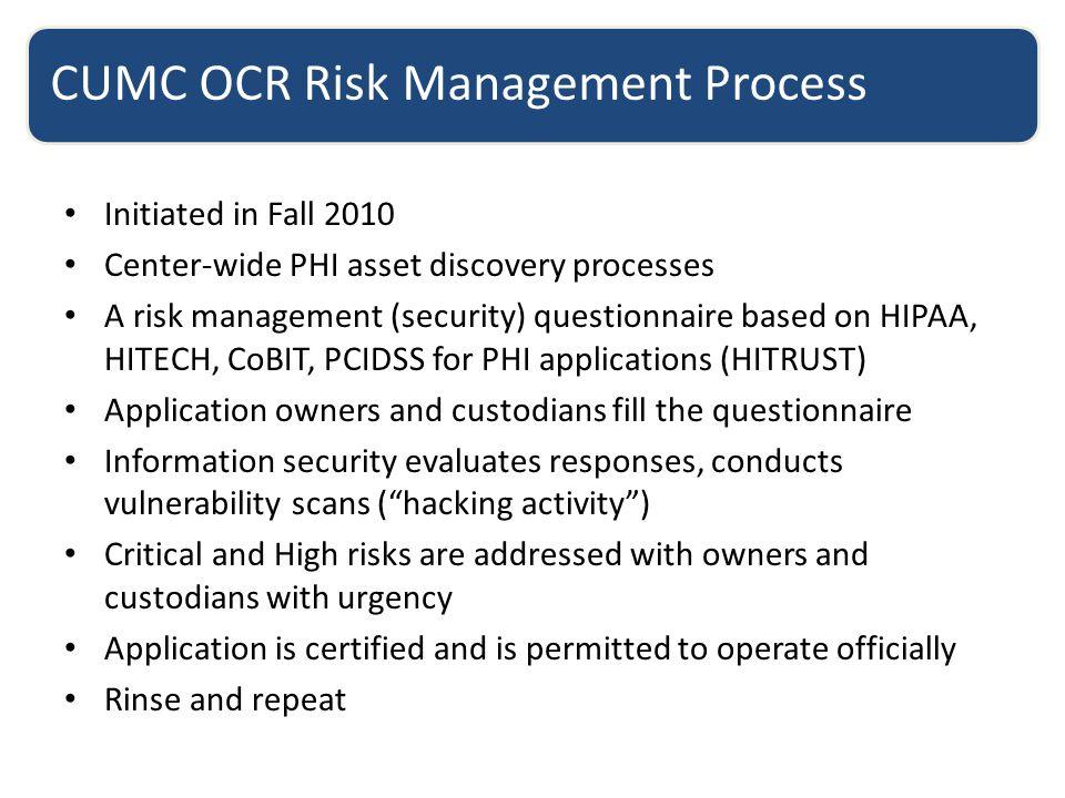 CUMC OCR Risk Management Process