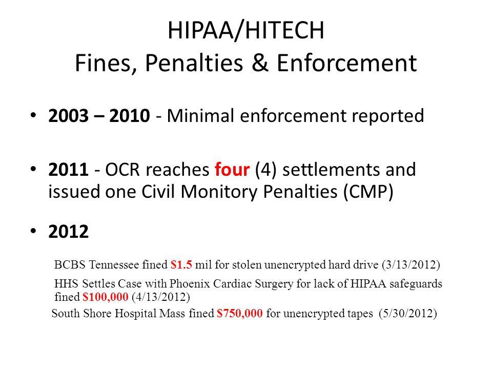 HIPAA/HITECH Fines, Penalties & Enforcement