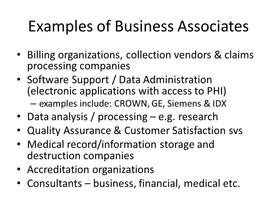 Examples of Business Associates