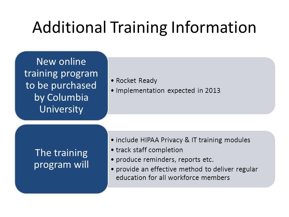 Additional Training Information