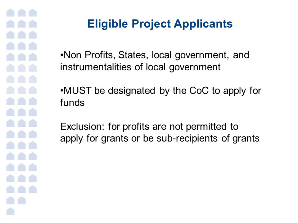 Eligible Project Applicants