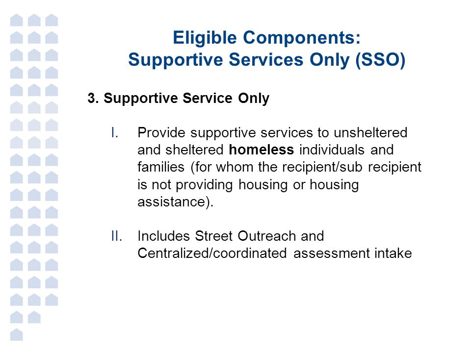 Supportive Services Only (SSO)