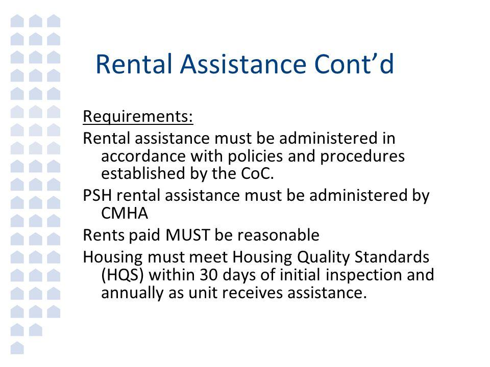 Rental Assistance Cont'd