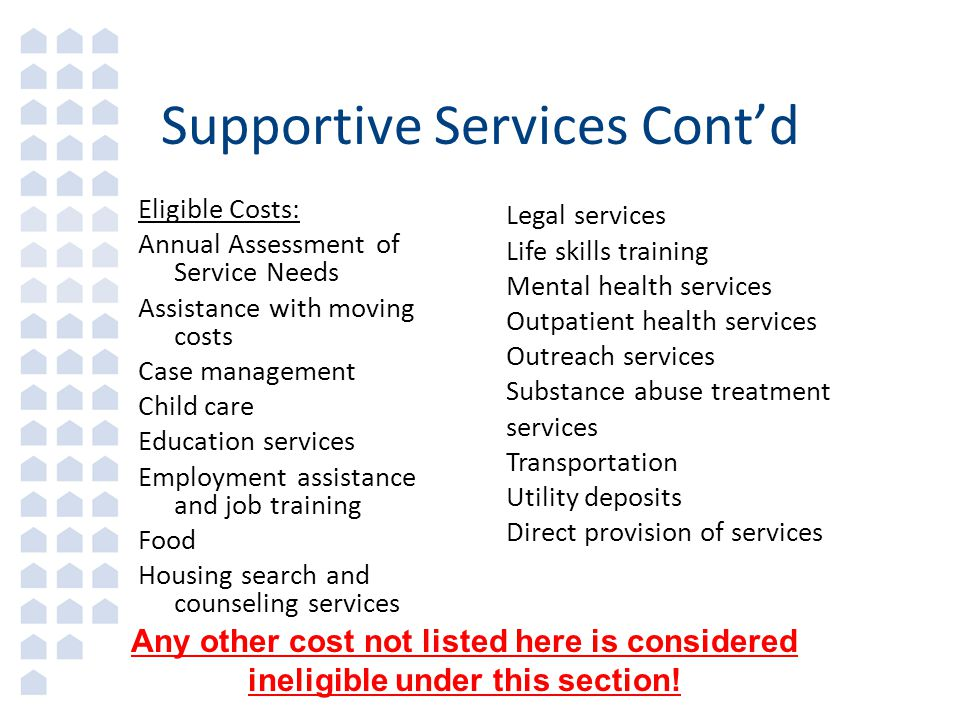 Supportive Services Cont'd