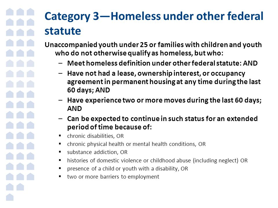 Category 3—Homeless under other federal statute