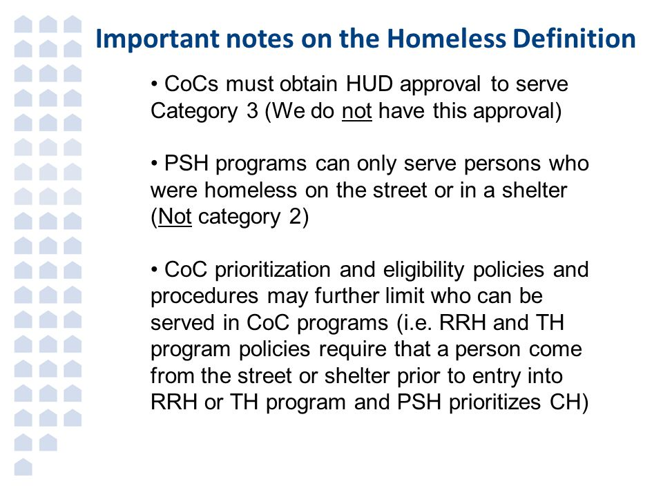 Important notes on the Homeless Definition