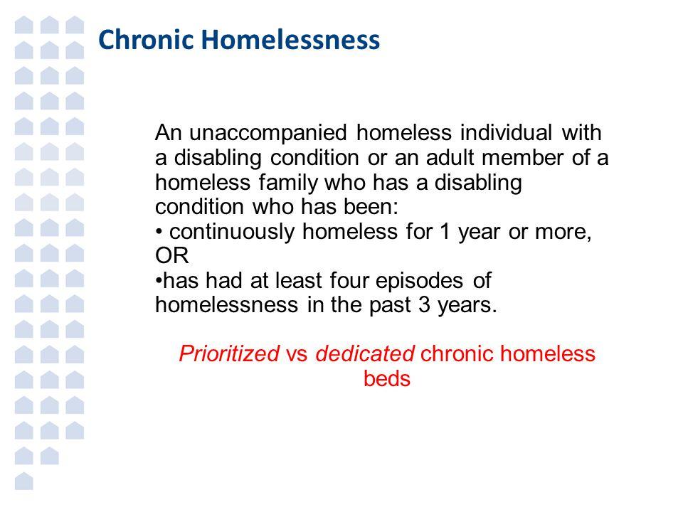 Prioritized vs dedicated chronic homeless beds