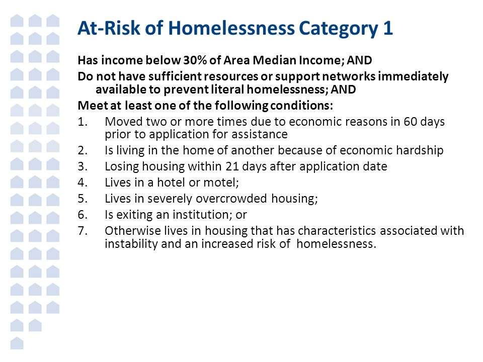 At-Risk of Homelessness Category 1