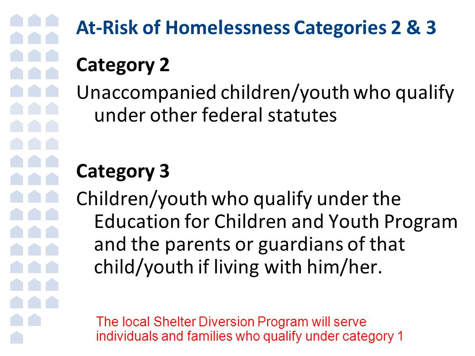 At-Risk of Homelessness Categories 2 & 3