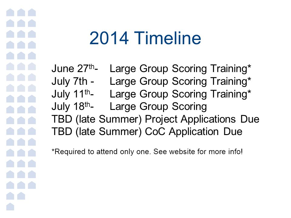 2014 Timeline June 27th- Large Group Scoring Training*