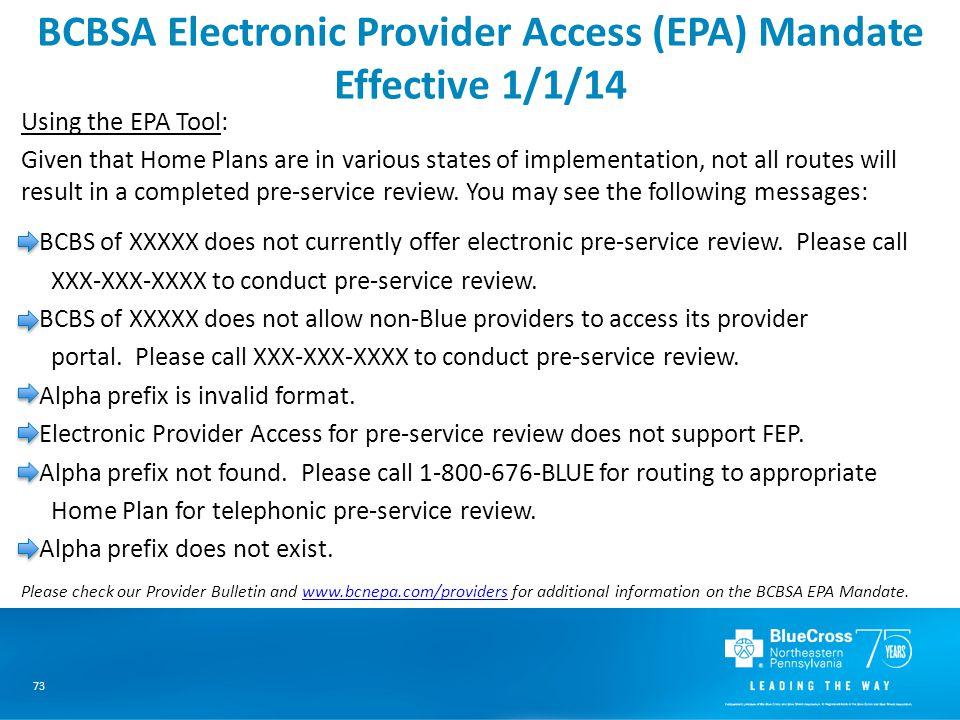 BCBSA Electronic Provider Access (EPA) Mandate