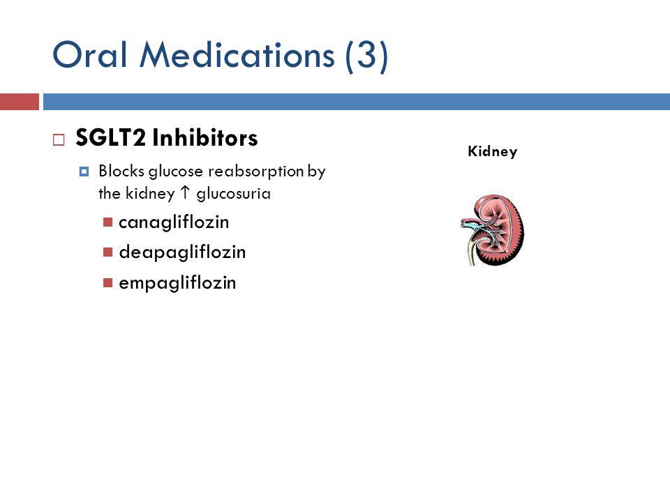 Oral Medications (3) SGLT2 Inhibitors canagliflozin deapagliflozin