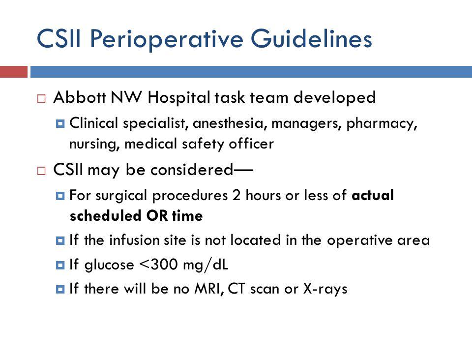 CSII Perioperative Guidelines