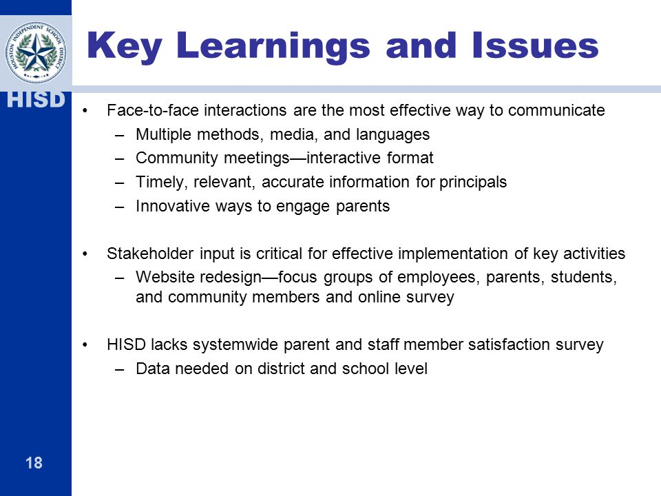 Key Learnings and Issues