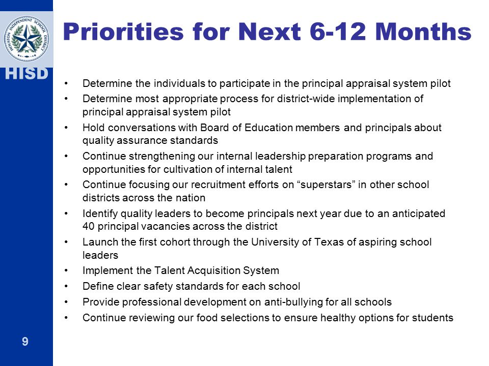 Priorities for Next 6-12 Months