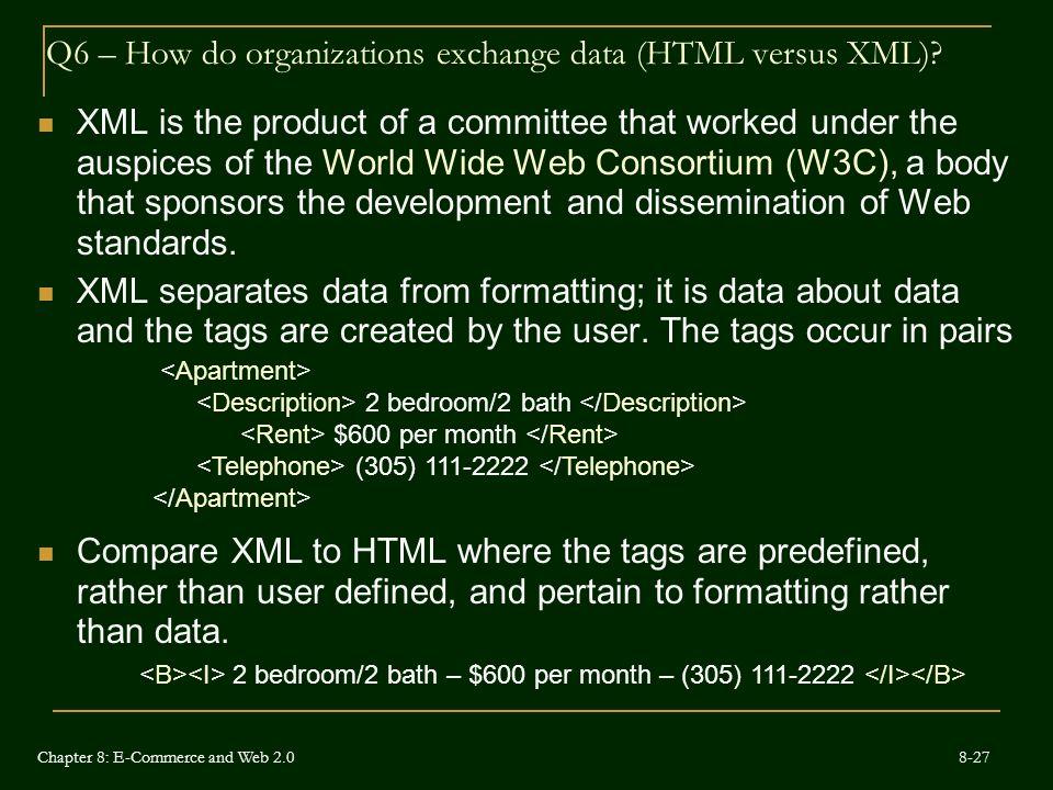 Q6 – How do organizations exchange data (HTML versus XML)