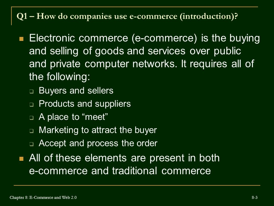Q1 – How do companies use e-commerce (introduction)
