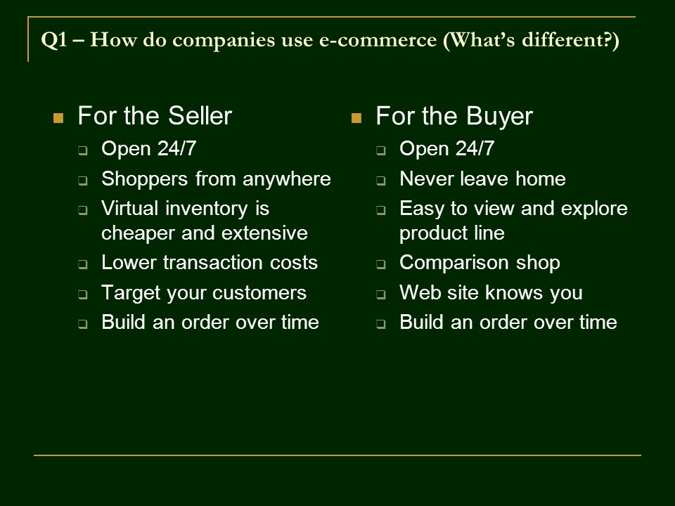 Q1 – How do companies use e-commerce (What's different )