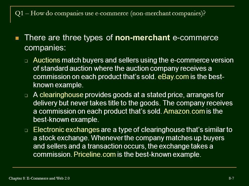 Q1 – How do companies use e-commerce (non-merchant companies)