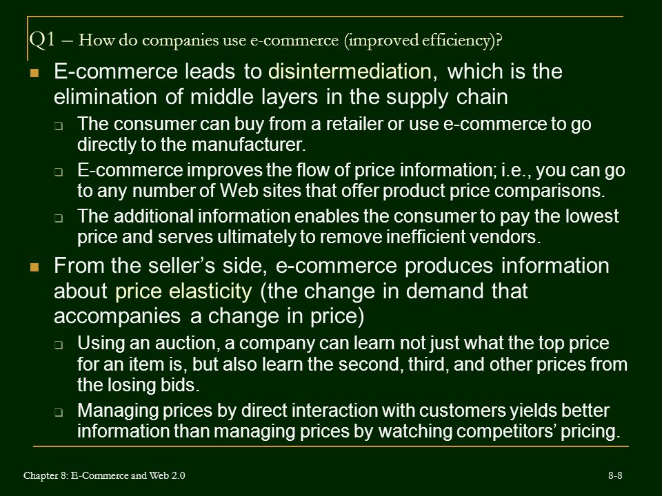 Q1 – How do companies use e-commerce (improved efficiency)