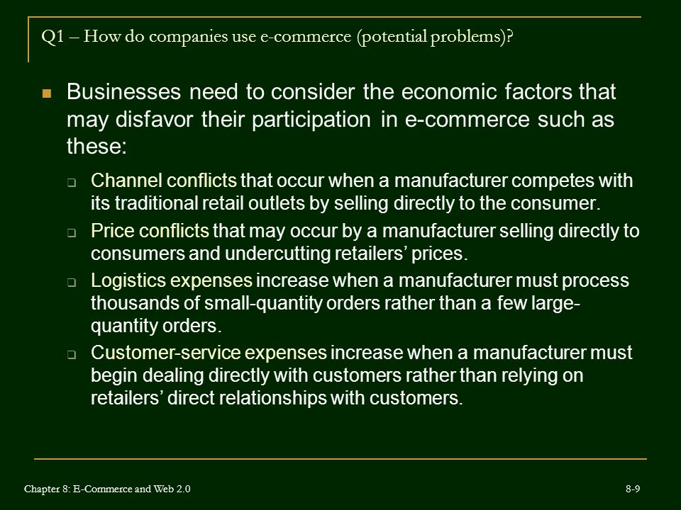 Q1 – How do companies use e-commerce (potential problems)
