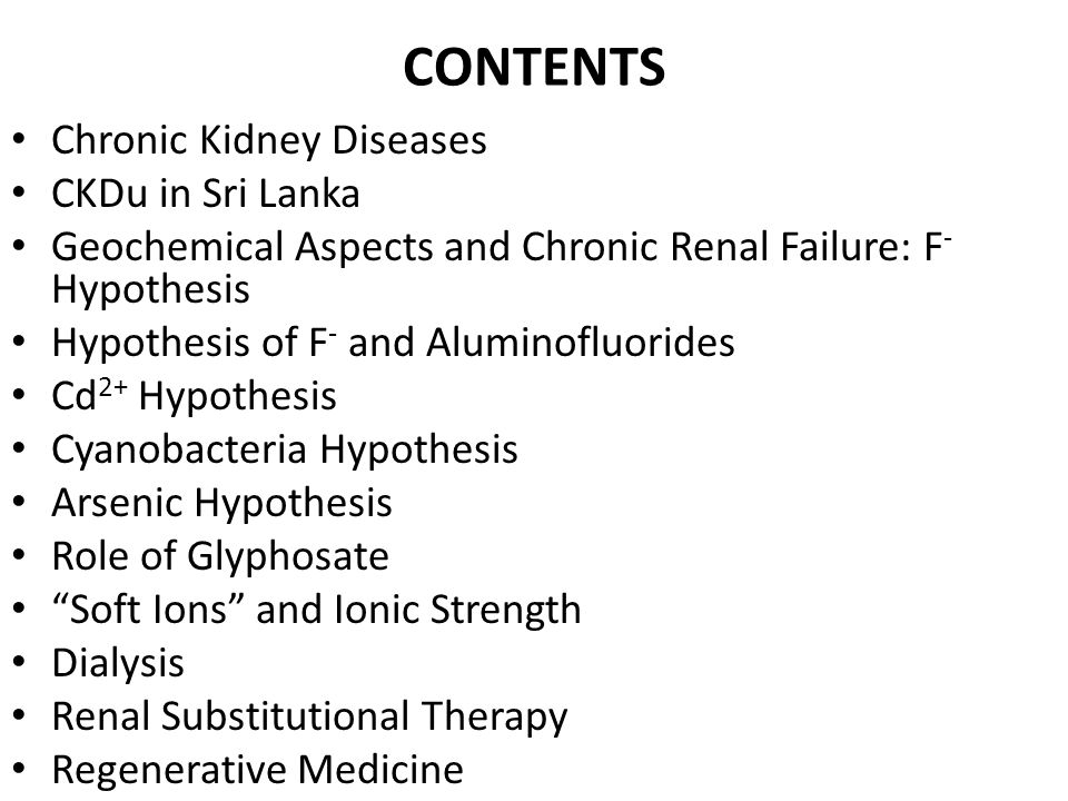 CONTENTS Chronic Kidney Diseases CKDu in Sri Lanka