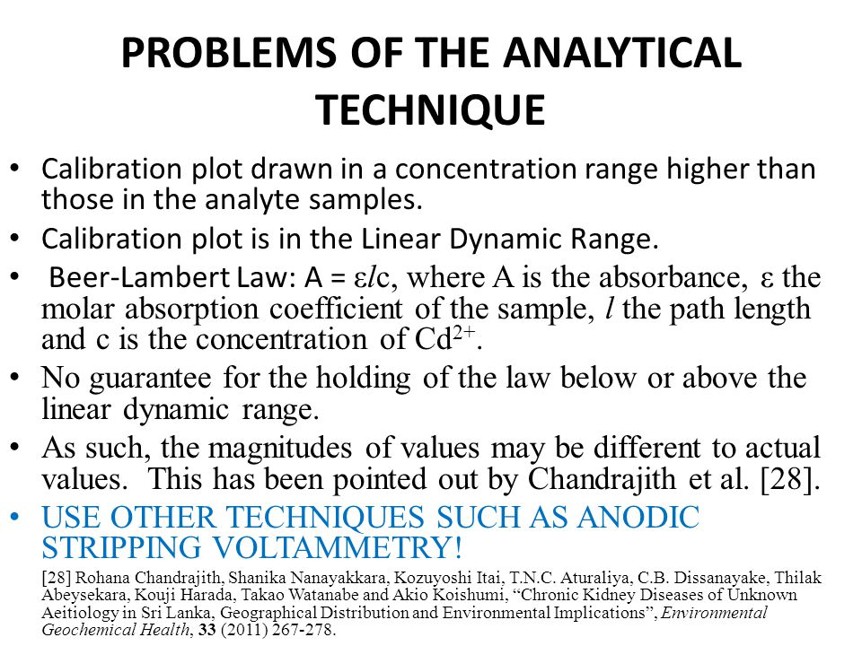PROBLEMS OF THE ANALYTICAL TECHNIQUE