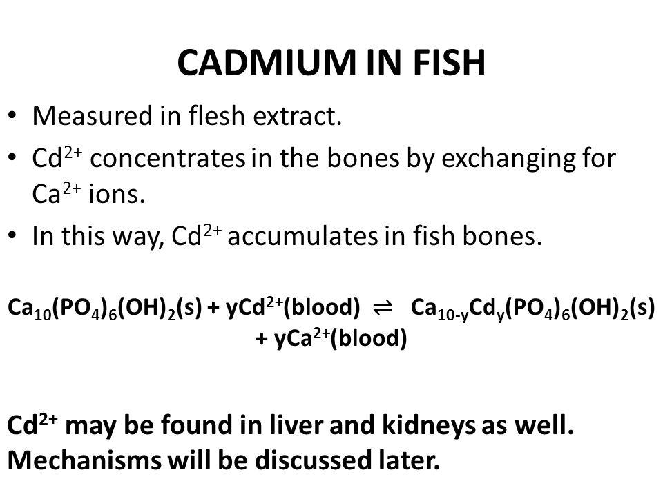 CADMIUM IN FISH Measured in flesh extract.
