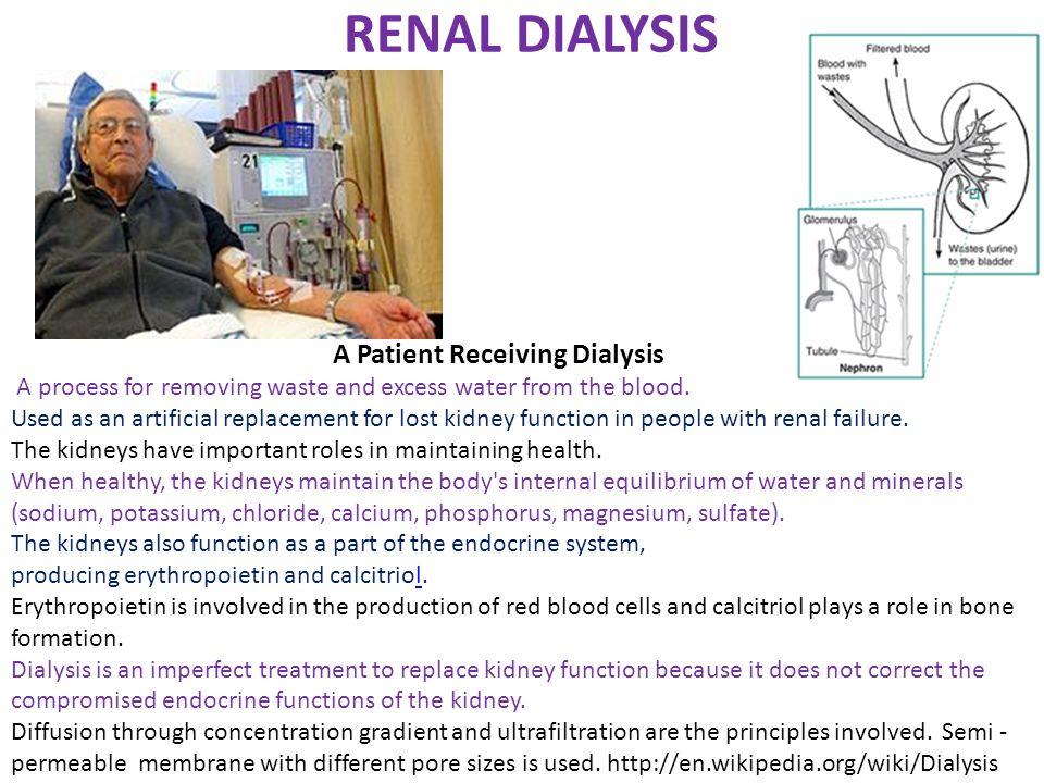 RENAL DIALYSIS A Patient Receiving Dialysis