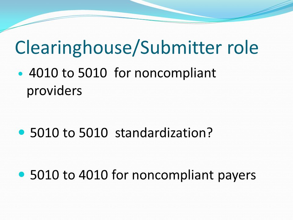 Clearinghouse/Submitter role