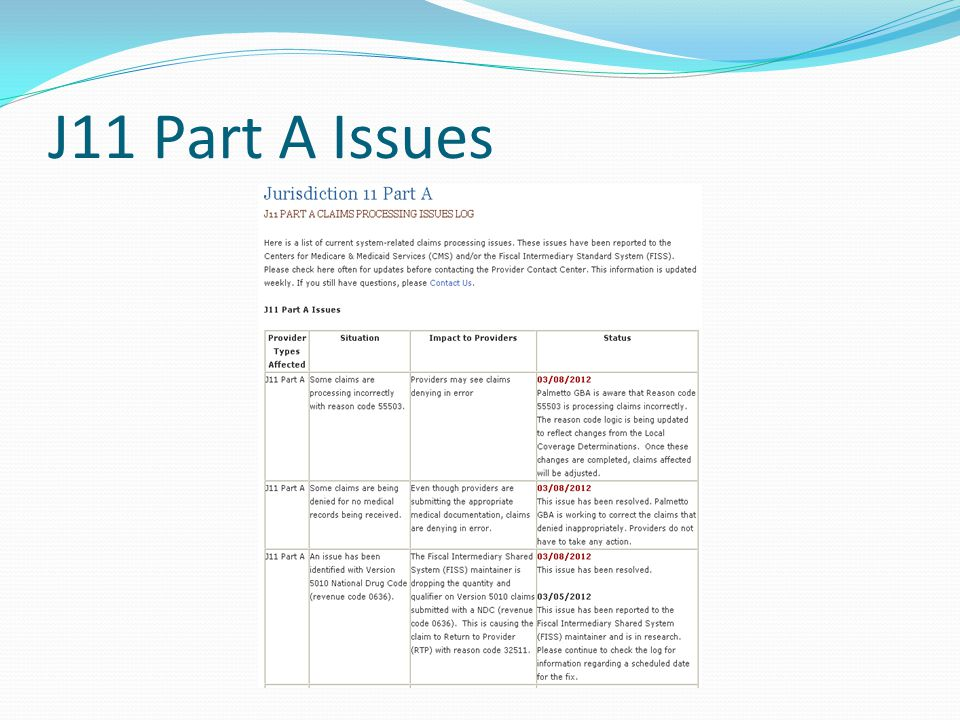 J11 Part A Issues