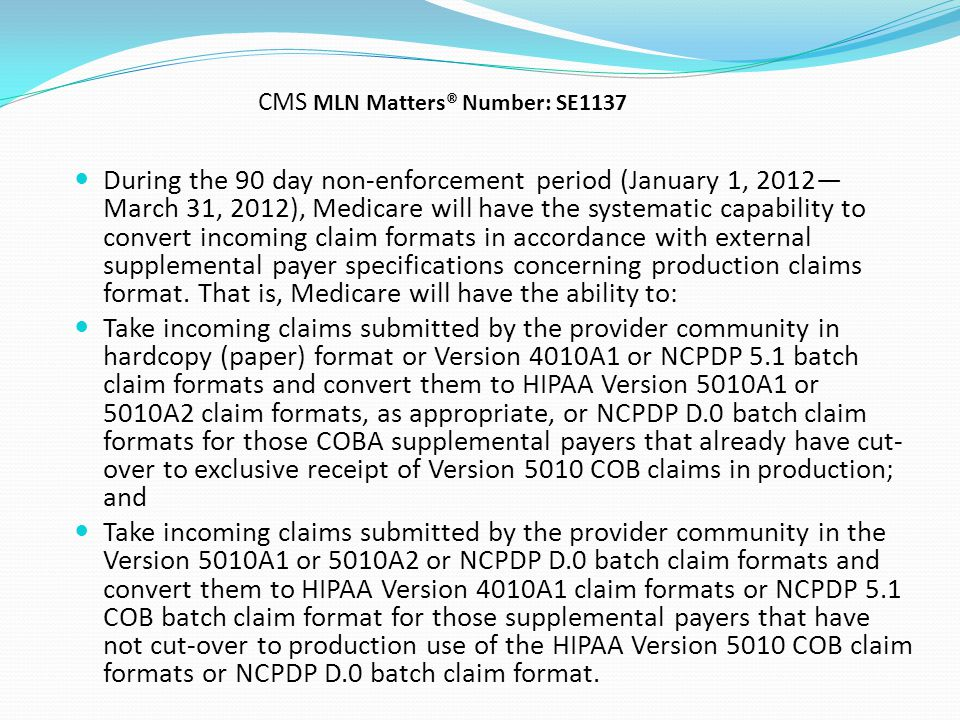 CMS MLN Matters® Number: SE1137