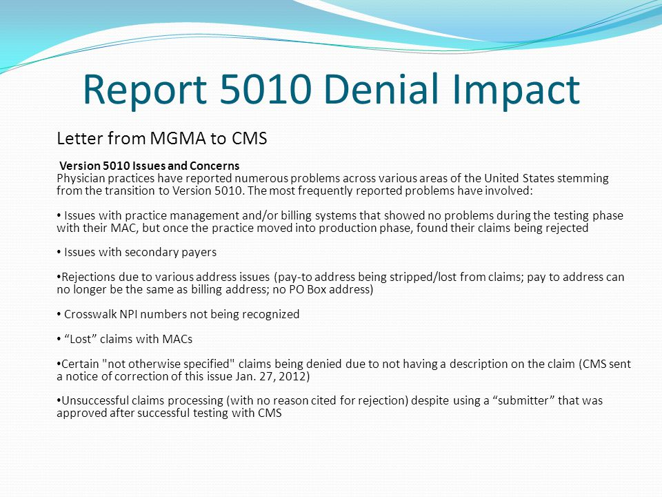 Report 5010 Denial Impact Letter from MGMA to CMS