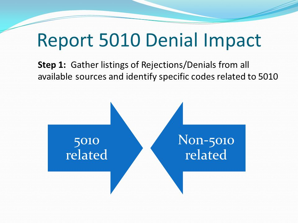 Report 5010 Denial Impact Step 1: Gather listings of Rejections/Denials from all available sources and identify specific codes related to 5010.
