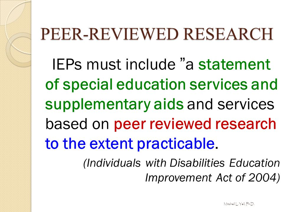 PEER-REVIEWED RESEARCH