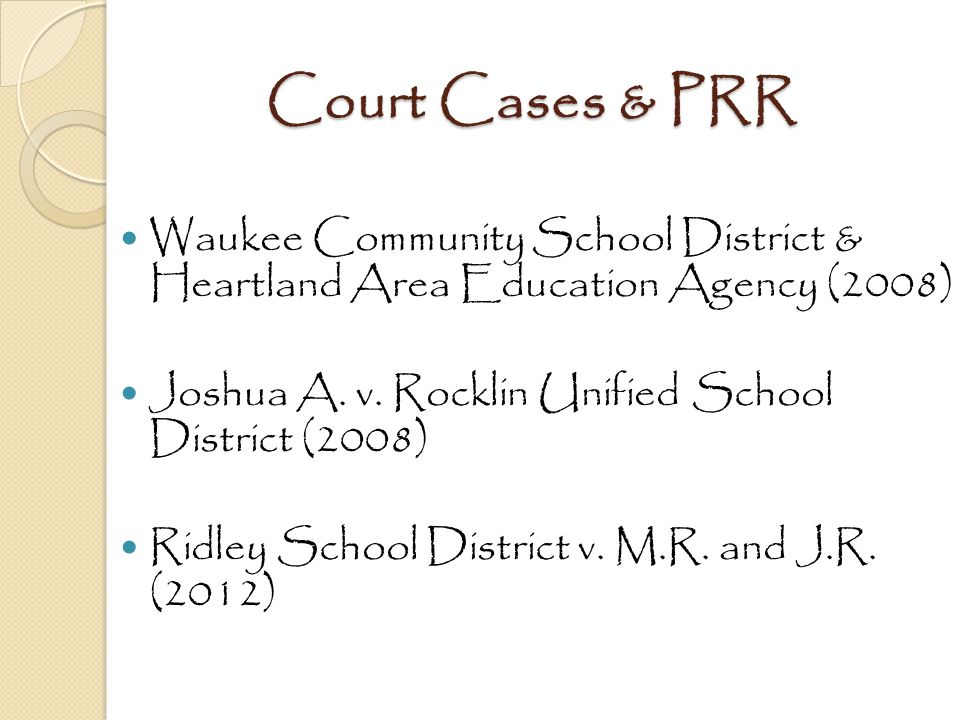 Court Cases & PRR Waukee Community School District & Heartland Area Education Agency (2008) Joshua A. v. Rocklin Unified School District (2008)