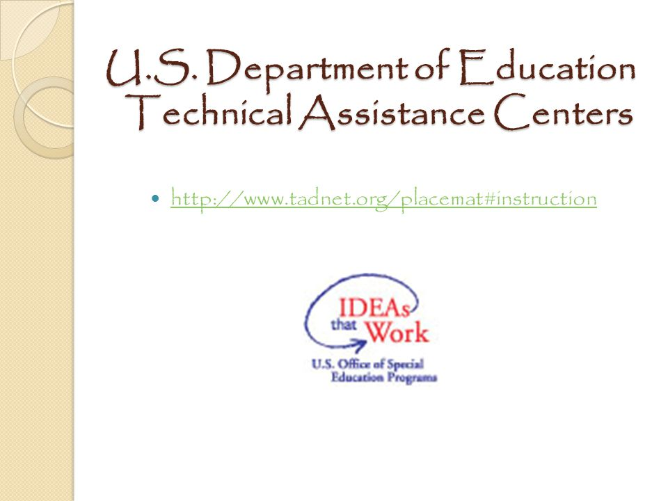 U.S. Department of Education Technical Assistance Centers