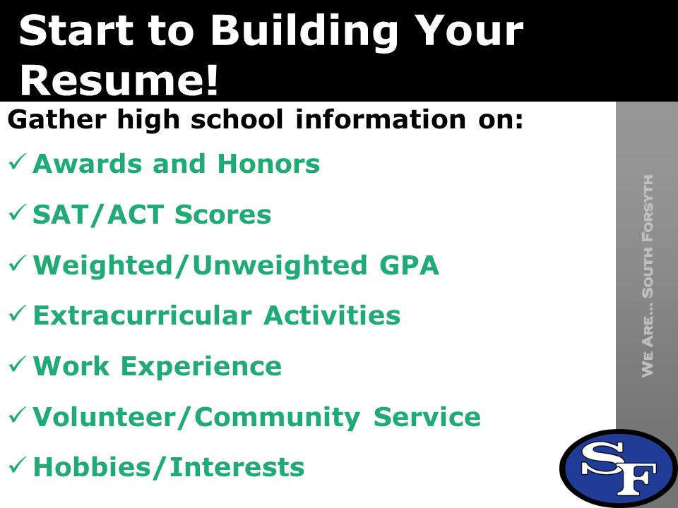 Start to Building Your Resume!