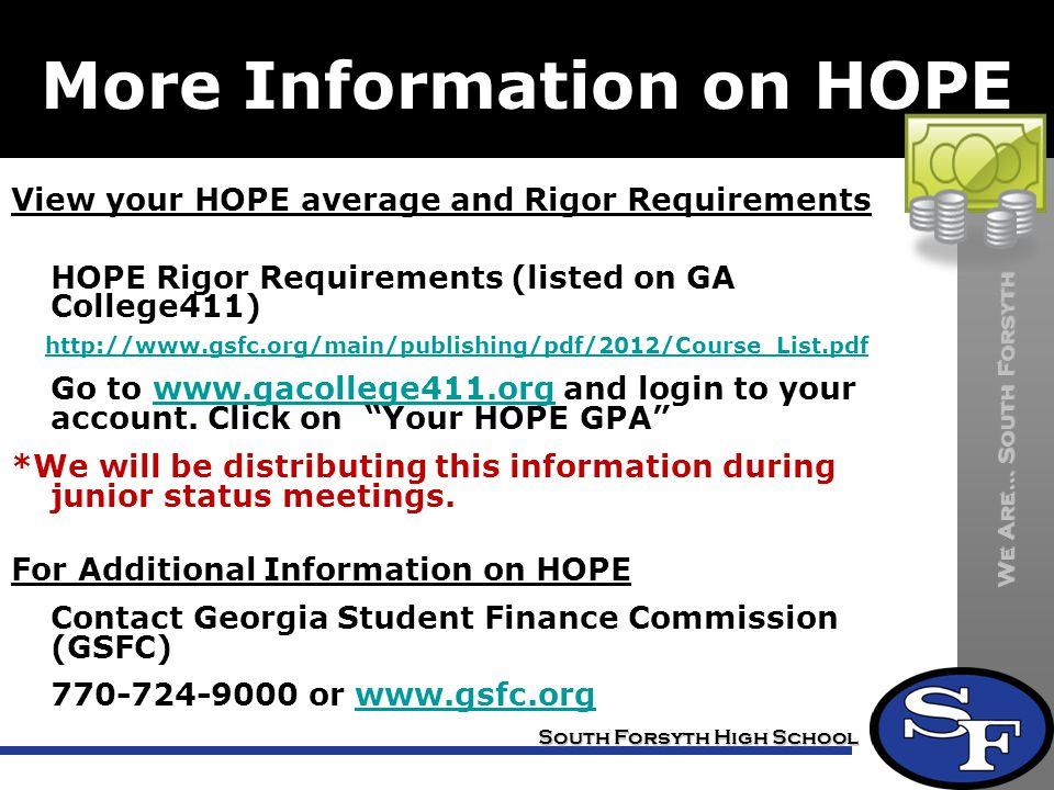 More Information on HOPE