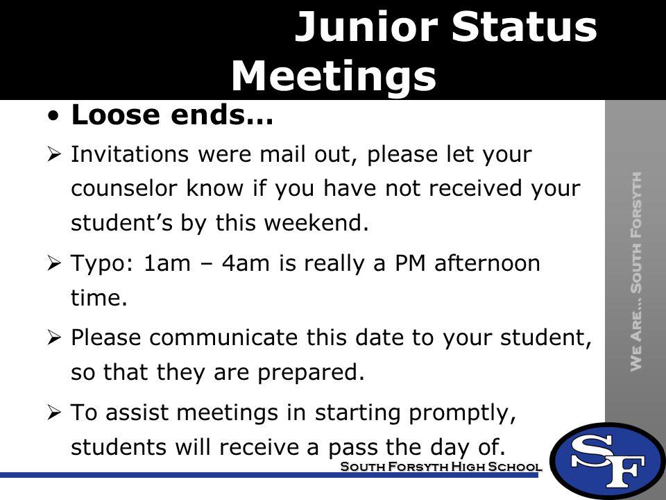 meeting Junior Status Meetings