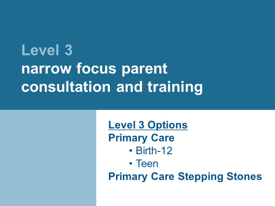 Level 3 narrow focus parent consultation and training