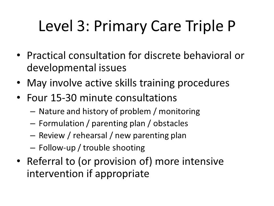 Level 3: Primary Care Triple P